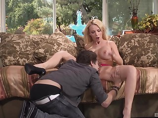 MILF pornstar Nikki Benz licking balls and sucking load of shit in high heels